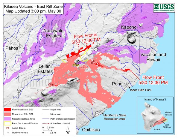 Map as of 3:00 p.m. HST, May 30, 2018. Given the dynamic nature of Kīlauea's lower East Rift Zone eruption, with changing vent locations, fissures starting and stopping, and varying rates of lava effusion, map details shown here are accurate as of the date/time noted. Shaded purple areas indicate lava flows erupted in 1840, 1955, 1960, and 2014-2015.