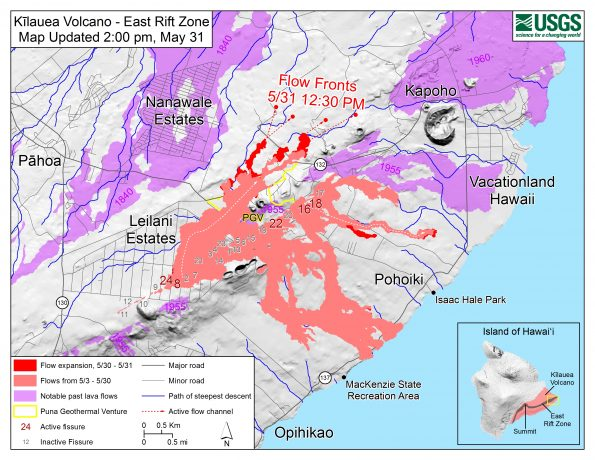Map as of 2:00 p.m. HST, May 31, 2018. Given the dynamic nature of Kīlauea's lower East Rift Zone eruption, with changing vent locations, fissures starting and stopping, and varying rates of lava effusion, map details shown here are accurate as of the date/time noted. Shaded purple areas indicate lava flows erupted in 1840, 1955, 1960, and 2014-2015.