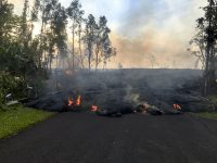 Lava from fissure 8 advances on Kahukai Street. Lava in this area is as much as 3.5 yards in height. Photo taken Thursday, May 31, 2018 courtesy of U.S. Geological Survey
