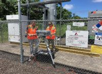 EPA installing air monitoring equipment at Kapoho Verizon Tower location. Photo courtesy of EPA
