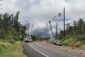 Hawaii Electric Light workers in Puna. HELCO Photo