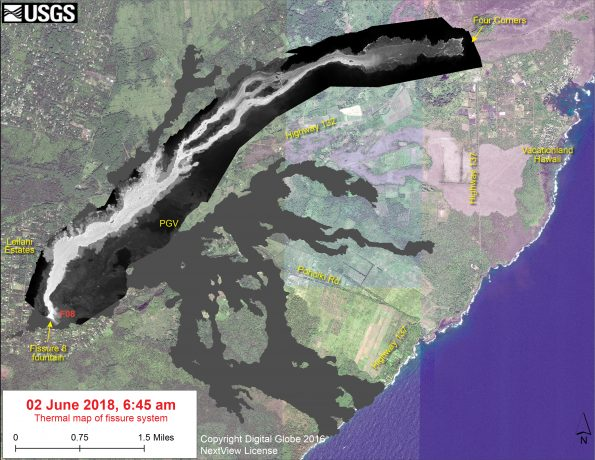 This thermal map shows the fissure system and lava flows as of 6:45 am on Saturday, June 2. The flow from Fissure 8 continues to advance in a northeast direction and the front was roughly 10.1 km (6.3 miles) from the vent at Fissure 8. The black and white area is the extent of the thermal map. Temperature in the thermal image is displayed as gray-scale values, with the brightest pixels indicating the hottest areas. The thermal map was constructed by stitching many overlapping oblique thermal images collected by a handheld thermal camera during a helicopter overflight of the flow field. The base is a copyrighted color satellite image (used with permission) provided by Digital Globe.