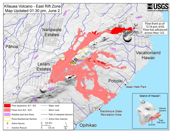 Map as of 1:30 p.m. HST, June 2, 2018. Given the dynamic nature of Kīlauea's lower East Rift Zone eruption, with changing vent locations, fissures starting and stopping, and varying rates of lava effusion, map details shown here are accurate as of the date/time noted. Shaded purple areas indicate lava flows erupted in 1840, 1955, 1960, and 2014-2015.
