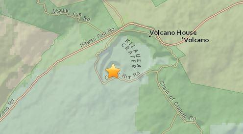 3:51 p.m. HST Sunday (June 3) earthquake epicenter at Kilauea summit.