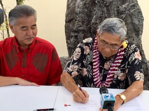 Gov. David Ige and Mayor Harry Kim signed a Letter of Agreement releasing $12 million to support the county's response to the active volcanic eruption occurring on Hawai'i Island, along the East Rift Zone in Lower Puna.