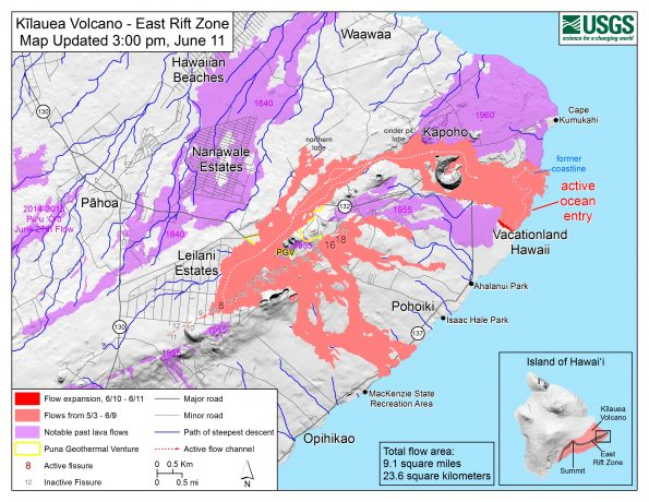 Map as of 3:00 p.m. HST, June 11, 2018. Given the dynamic nature of Kīlauea's lower East Rift Zone eruption, with changing vent locations, fissures starting and stopping, and varying rates of lava effusion, map details shown here are accurate as of the date/time noted. Shaded purple areas indicate lava flows erupted in 1840, 1955, 1960, and 2014-2015.