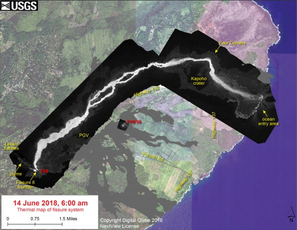 This thermal map shows the fissure system and lava flows as of 6 am on Thursday June 14. The fountain at Fissure 8 remains active, with the lava flow entering the ocean at Kapoho. Very small, weak lava flows have been active recently near the Fissure 16/18 area. The black and white area is the extent of the thermal map. Temperature in the thermal image is displayed as gray-scale values, with the brightest pixels indicating the hottest areas. The thermal map was constructed by stitching many overlapping oblique thermal images collected by a handheld thermal camera during a helicopter overflight of the flow field. The base is a copyrighted color satellite image (used with permission) provided by Digital Globe.