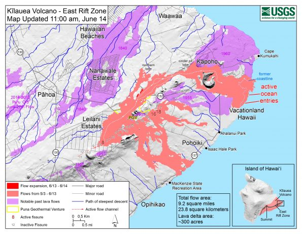 Map as of 11:00 a.m. HST, June 14, 2018. Given the dynamic nature of Kīlauea's lower East Rift Zone eruption, with changing vent locations, fissures starting and stopping, and varying rates of lava effusion, map details shown here are accurate as of the date/time noted. Shaded purple areas indicate lava flows erupted in 1840, 1955, 1960, and 2014-2015.