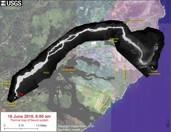 This thermal map shows the fissure system and lava flows as of 6 am on Saturday, June 16. The fountain at Fissure 8 remains active, with the lava flow entering the ocean at Kapoho. Very small, weak lava flows have been active recently near the Fissure 16/18 area. The black and white area is the extent of the thermal map. Temperature in the thermal image is displayed as gray-scale values, with the brightest pixels indicating the hottest areas. The thermal map was constructed by stitching many overlapping oblique thermal images collected by a handheld thermal camera during a helicopter overflight of the flow field. The base is a copyrighted color satellite image (used with permission) provided by Digital Globe.