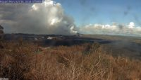 This image is from a temporary research camera positioned near Kapoho looking southwest. From left to right, one can see the eruptive fissures, with Fissure 15 on the far left, and Fissure 8 near the center. Webcam image taken Monday, June 18, 2018 courtesy of U.S. Geological Survey