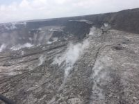 An overflight of Kīlauea's summit on June 18 showed the continued dramatic slumping and collapse of the Halema'uma'u crater area. This photo shows the area north-northwest of Halema'uma'u near a GPS station, North Pit. This station has subsided about 60 m (197 ft) in the past week. Photo taken Monday, June 18, 2018 courtesy of U.S. Geological Survey
