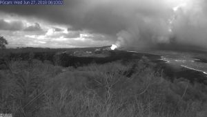 This image is from a temporary research camera positioned near Kapoho looking southwest. From left to right, one can see the eruptive fissures, with Fissure 15 on the far left, and Fissure 8 near the center.Webcam image taken Wednesday, June 27, 2018 courtesy of U.S. Geological Survey