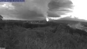 This image is from a temporary research camera positioned near Kapoho looking southwest. From left to right, one can see the eruptive fissures, with Fissure 15 on the far left, and Fissure 8 near the center.Webcam image taken Friday, June 29, 2018 courtesy of U.S. Geological Survey