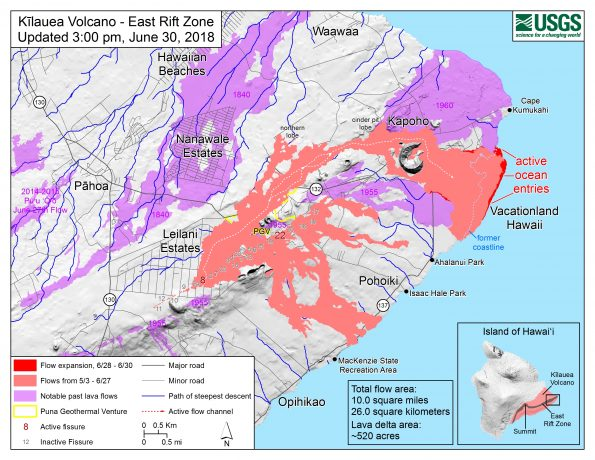 Map as of 3:00 p.m. HST, June 30, 2018. Given the dynamic nature of Kīlauea's lower East Rift Zone eruption, with changing vent locations, fissures starting and stopping, and varying rates of lava effusion, map details shown here are accurate as of the date/time noted. Shaded purple areas indicate lava flows erupted in 1840, 1955, 1960, and 2014-2015.