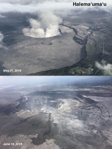 Aerial images of the Halemaʻumaʻu crater from May 27, 2018 (upper image) and June 18, 2018 (lower image). Note how the crater has enlarged over a three-week period, as shown in the June 18 photo. Also visible, are cracks on the crater floor due to ongoing subsidence at the summit. Photo credit: Ingrid Johanson