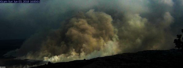 An ash plume rises from Halemaumau Crater at 4 p.m. HST Sunday, June 3, 2018. Image via USGS/HVO webcam