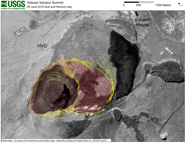 High-resolution satellite data are useful for mapping cracks and deformation in the summit caldera at Kīlauea Volcano. This map shows major fractures in yellow (as of June 29) on a base image acquired by the WorldView-2 satellite before the current sequence of events began at Kīlauea. The area of major subsidence has expanded east and south, and slightly west, of the main Halema'uma'u crater area. The large, red-shaded area east of Halema'uma'u is moving down within a scarp-bounded area, as seen in recent photographs of the summit. Some fractures have also formed to the east-northeast of the red-shaded area of accelerated motion, and also on the south caldera rim where parts of the caldera wall have slumped into the rapidly moving caldera floor below. The dark gray-shaded area within the red shaded area shows the region of most significant down dropping and is currently the deepest part of Kīlauea caldera.