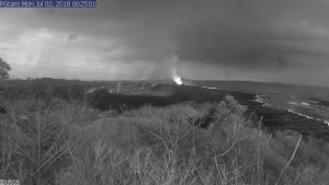 This image is from a temporary research camera positioned near Kapoho looking southwest. From left to right, one can see the eruptive fissures, with Fissure 15 on the far left, and Fissure 8 near the center.Webcam image taken Monday, July 2, 2018 courtesy of U.S. Geological Survey
