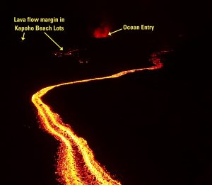 Annotated drone image of Kīlauea Volcano's lower East Rift Zone fissure 8 lava channel. Image captured near Kapoho Crater looking east toward the ocean entry. Incandescent flow margin is more easily identified in the dark - specifically here in the area of Kapoho Beach Lots. Photo taken Monday, July 2, 2018 courtesy of U.S. Geological Survey