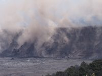 Rocks generate brown dust as they tumble down the western caldera wall during the collapse explosion event on July 5, 2018. Photo taken Thursday, July 5, 2018 courtesy of U.S. Geological Survey