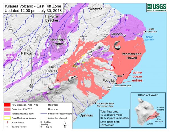 Map as of 12:00 p.m. HST, July 30, 2018. Given the dynamic nature of Kīlauea's lower East Rift Zone eruption, with changing vent locations, fissures starting and stopping, and varying rates of lava effusion, map details shown here are accurate as of the date/time noted. Shaded purple areas indicate lava flows erupted in 1840, 1955, 1960, and 2014-2015.