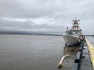 The Coast Guard Cutter Oliver Berry (WPC 1124) at the pier in Hilo, Hawaii, Aug. 24, 2018. The Honolulu-based 154-foot Fast Response Cutter is one of six cutters in Hawaii ready to respond to the impacts of the storm. (U.S. Coast Guard photo by Lt. Ken Franklin/Released)