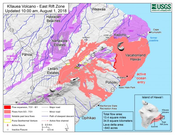 Map as of 10:00 a.m. HST, August 1, 2018. Given the dynamic nature of Kīlauea's lower East Rift Zone eruption, with changing vent locations, fissures starting and stopping, and varying rates of lava effusion, map details shown here are accurate as of the date/time noted. Shaded purple areas indicate lava flows erupted in 1840, 1955, 1960, and 2014-2015.