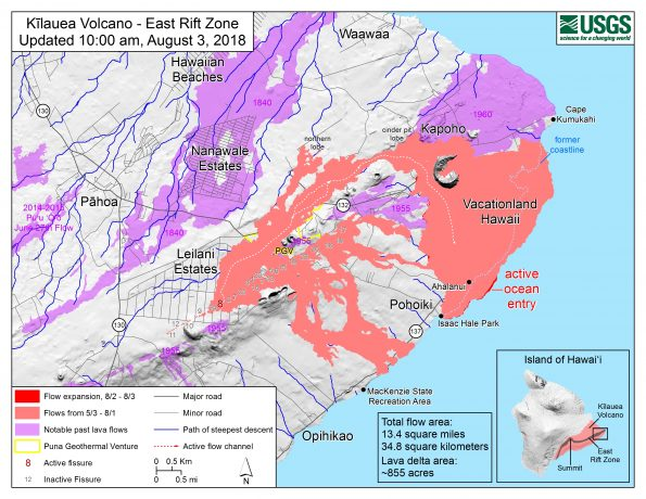 Map as of 10:00 a.m. HST, August 3, 2018. Given the dynamic nature of Kīlauea's lower East Rift Zone eruption, with changing vent locations, fissures starting and stopping, and varying rates of lava effusion, map details shown here are accurate as of the date/time noted. Shaded purple areas indicate lava flows erupted in 1840, 1955, 1960, and 2014-2015.
