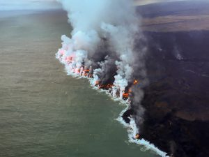 Multiple streams of lava were oozing into the sea along the southern lobe of the active ocean entry near Isaac Hale Park this morning. Photo taken Saturday, August 4, 2018 courtesy of U.S. Geological Survey