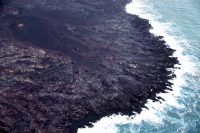 Cracks parallel to the shoreline are developing in the lava delta near Kapoho and Vacation Lots—a reminder that lava deltas are inherently unstable and prone to collapse, one of the many hazards associated with ocean entries. Photo taken Tuesday, August 7, 2018 courtesy of U.S. Geological Survey