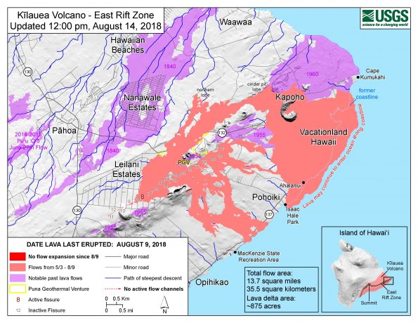Map as of 12:00 p.m. HST, August 14, 2018. The lull in eruptive activity on Kīlauea's lower East Rift Zone continues. Lava flows have not expanded since August 9. The fissure 8 cone still hosts a small pond of lava, but no new lava has entered the existing channel in over a week. Lava may intermittently enter the ocean between the Kapoho Bay and Isaac Hale Beach Park areas until residual lava contained within the existing flow is depleted. Given the dynamic nature of Kīlauea's eruption, map details shown here are accurate as of the date/time noted. Shaded purple areas indicate lava flows erupted in 1840, 1955, 1960, and 2014-2015. A NEW MAP WILL NOT BE ISSUED until the current conditions change.