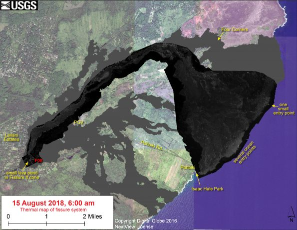 This thermal map shows the fissure system and lava flows as of 6 am on Wednesday, August 15. Residual lava in the Fissure 8 flow continues to drain, feeding numerous small ocean entries. In the Fissure 8 cone there was a single, small lava pond. The black and white area is the extent of the thermal map. Temperature in the thermal image is displayed as gray-scale values, with the brightest pixels indicating the hottest areas. The thermal map was constructed by stitching many overlapping oblique thermal images collected by a handheld thermal camera during a helicopter overflight of the flow field. The base is a copyrighted color satellite image (used with permission) provided by Digital Globe.