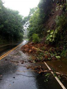Small landslide on Mamalahoa Highway (Route 19) in Honomu. Photo courtesy HDOT.