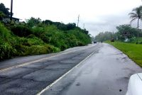 Landslide blocking a lane of Mamalahoa Highway (Route 19) near the 3.9 mile marker. HDOT Photo