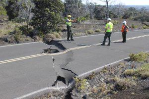 Large sink hole and crack on Crater Rim Drive Keanakakoi. NPS Photo