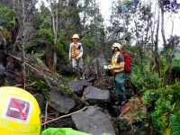 Geomorphologists inspect a rockfall on the Byron Ledge Trail at Hawaii Volcanoes National Park. NPS Photo.