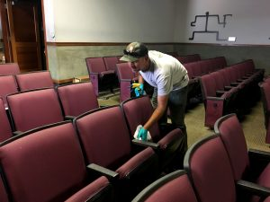 The Kilauea Visitor's Center auditorium is being prepared for reopening at Hawaii Volcanoes National Park. NPS Photo.