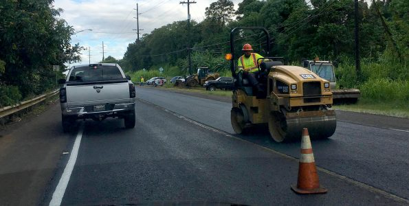 Road paving on Mamalahoa Highway (Route 19). Hawaii 24/7 File Photo