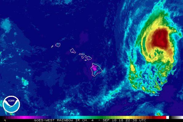 GOES-West Infrared enhanced rainbow image of Hurricane Olivia moving west towards Hawaii Monday, September 10, 2018. Image via NOAA