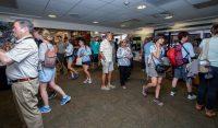 The first visitors in the doors at the Kilauea Visitors Center at Hawaii Volcanoes National Park on reopening day Saturday (Sept 22). Photography by Baron Sekiya | Hawaii 24/7