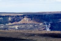 The collapsed crater of Kilauea Caldera from the explosive earthquake events at Hawaii Volcanoes National Park. Photography by Baron Sekiya | Hawaii 24/7
