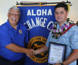 """""""Officer of the Month"""" Lt. Robert Fujitake with Aloha Club Member James Sanborn"""