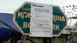 Sign at Honokohau Harbor dry storage facility. Photo courtesy of DLNR