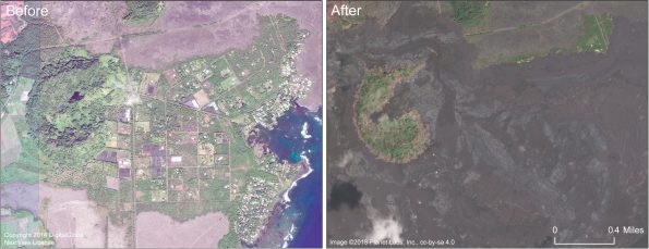 This comparison shows the area of Kapoho before and after. Kapoho Crater is in the left portion of the image. Lava filled much of the crater, including the small nested crater that contained Green Lake. The Kapoho Beach Lots subdivision is in the right side of the image, north of Kapoho Bay, and was completely covered by the fissure 8 lava flow. Vacationland Hawai'i, in the lower right corner of the image, was also completely covered, along with the adjacent tide pools. Kapoho Farm Lots, near the center of the image, is also beneath the flow. For a map of the 2018 lower East Rift Zone eruption fissures and surrounding area, see the HVO web site