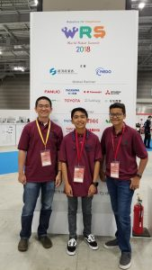 Parker School Robotics Club recently competed at the World Robot Summit 2018 in Tokyo Japan (left to right:  Brent Takenuchi, Logan Kidani and Del Jordan). Photo courtesy of Parker School