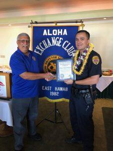 (L) Aloha Exchange Club member James Sanborn (R) Puna District Officer David Poohina