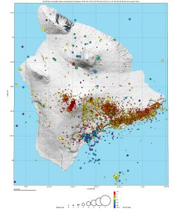 The USGS Hawaiian Volcano Observatory continues to closely monitor volcanoes and earthquakes on the Island of Hawaiʻi. On this map, which shows earthquakes that occurred beneath the island between August 6, 2018, and November 14, 2018, the size of each circle depicts earthquake magnitude and color indicates earthquake depth, relative to mean sea level. USGS map.