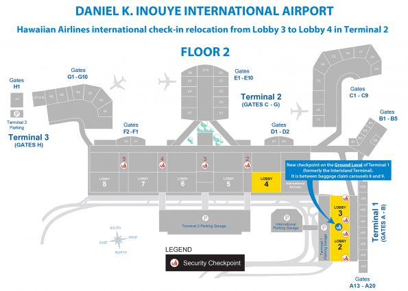Hawaiian Airlines map of the lobbies and checkpoints in Honolulu.