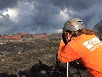 USGS Hawaiian Volcano Observatory scientist monitors Kilauea Volcano's Lower East Rift Zone lava flow on June 25, 2018.