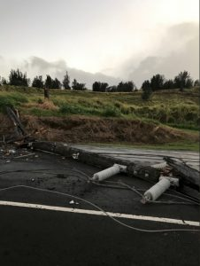 Utility pole came down in Hamakua during the winter storm Sunday, February 10, 2019.